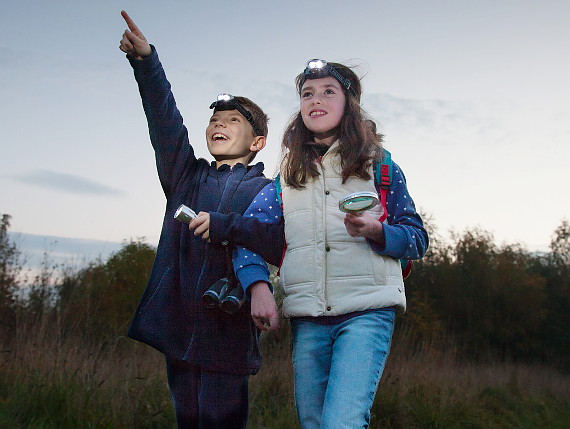 Boy and girl bat watching at night in Heartwood Forest
